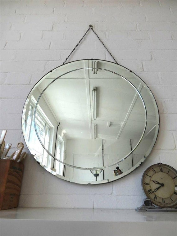 Vintage extra large round art deco bevelled edge wall by for Extra large round mirror