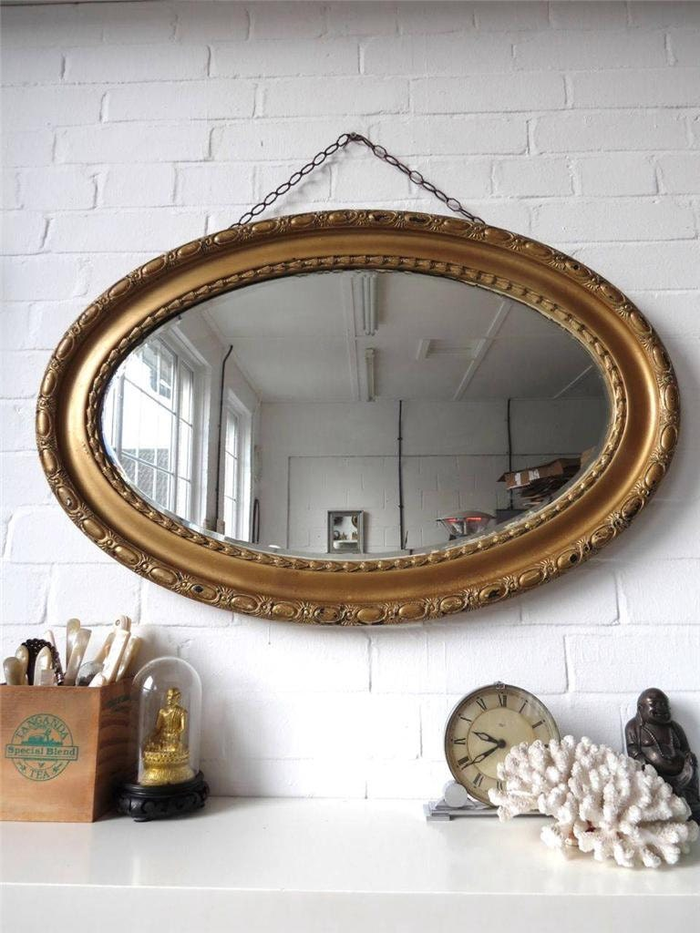 Vintage Extra Large Oval Bevelled Edge Wall Mirror With Gold