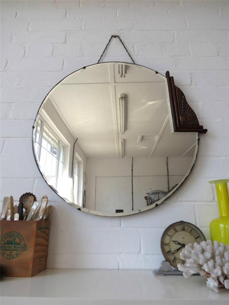 Vintage extra large round art deco bevelled edge wall mirror for Extra large round mirror