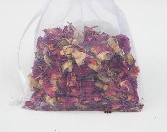 Rose Sachet - Dried Rose Petals - Natural Fragrance - Essential Oil
