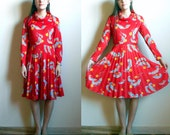 Vintage Early 70's Sears Red Dress // Feathers and Flowers // size 6-8