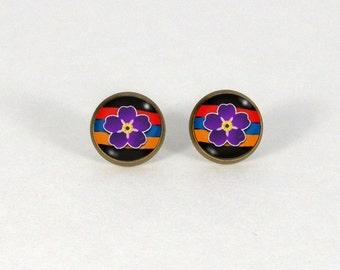 Armenian Genocide, Armenian Earrings, Armenian Jewelry, Forget me not Flower, Anmoruk Earrings, Stud Earrings, Glass Stud Earrings, Armenian