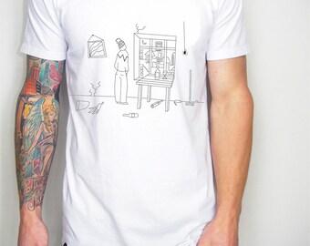 Hipster men t shirt, minimal t-shirt, hand drawn t-shirt, graphic shirt, boyfriend present