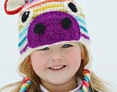 CUSTOM Rainbow Zebra Crochet Hat with Ear Flaps Kids Wool Blend Crochet Zebra Beanie Rainbow Striped Winter Hat MADE to ORDER