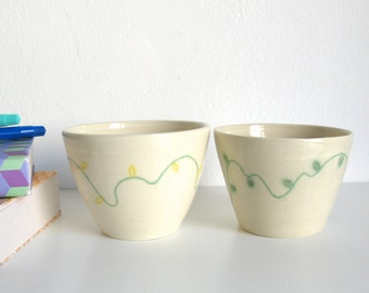 Two Wheel thrown pottery Unique ceramic cup Mishima Green and yellow flowers  - ready to ship