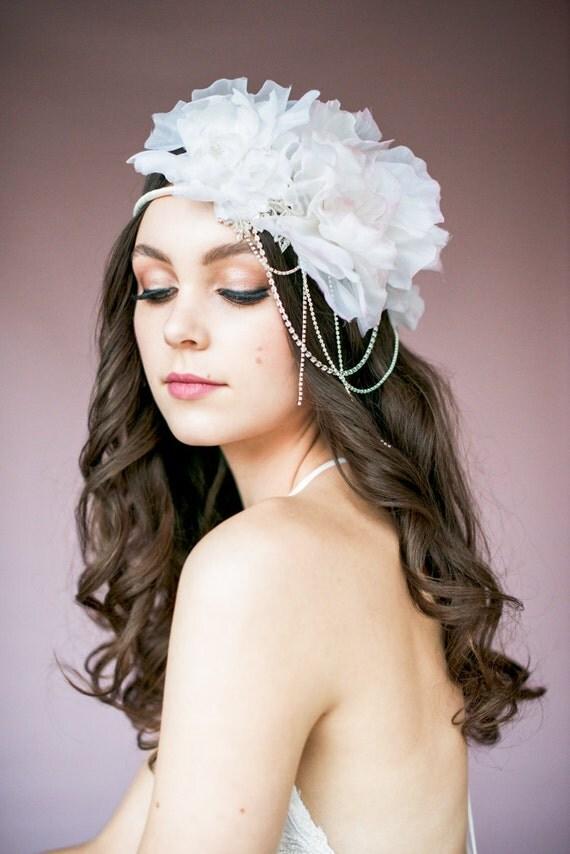 Ivory Bridal Crown Flower Crown Flower Hair Chain Blush