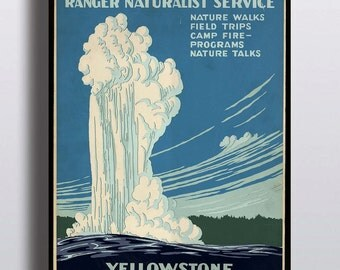 Vintage Yellowstone National Park Poster Art Print Illustration Home Decor Office Decor Wall Art Nature Prints Vintage Prints Wyoming