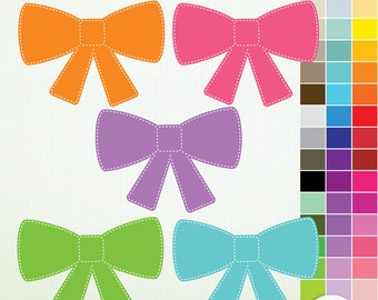 45 Digital Clip Art Bows-ClipArt Scrapbooking Commercial Instant Download & Printable G7200