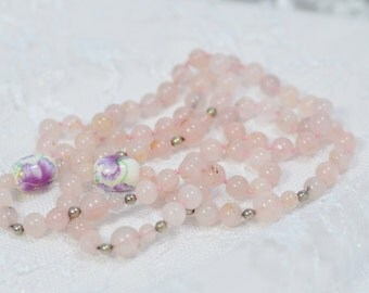 Long Rose Quartz Necklace Painted Beads Hand Knotted