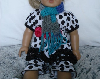 Grey/Blue/Purple American Girl Scarf with Fringe