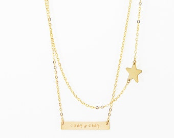 The Fault in Our Stars Necklace, Gold Okay Bar Necklace, Okay? Okay. Necklace, Hazel TFIOS Necklace, John Green