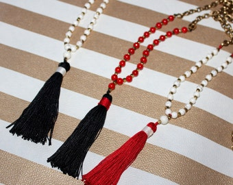 N678 - Long Tassel Necklace - Black and Red Tassels - Antique Bronze Chain - Long Necklace - Boho Jewelry - Claribella