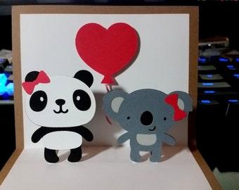 Pop Up Card - Panda and Koala - Love Card - Heart Balloon