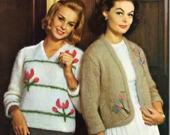 Blossom Twins • 1960s Cardigan Jacket Pullover Sweater Patterns • 60s Vintage Knitting Pattern • Retro Knit PDF