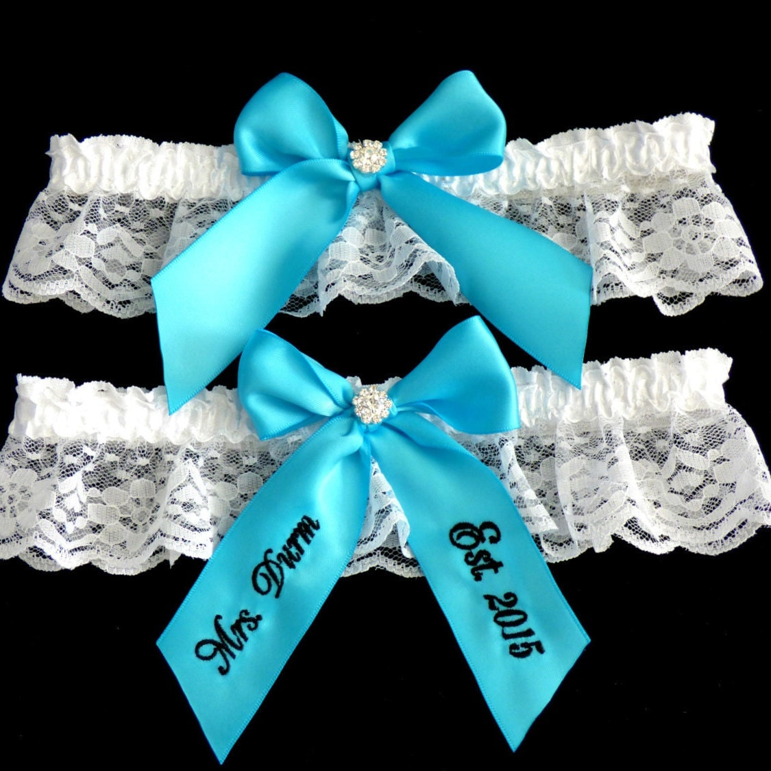 Personalized Turquoise Bridal Garter Wedding Garter