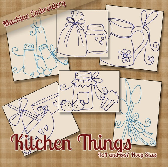 Kitchen Things Redwork Machine Embroidery Patterns Designs