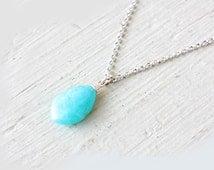 Turquoise Amazonite Pendant Necklace Sterling Silver Turquoise Aqua Blue Natural Amazonite Pendant Gemstone