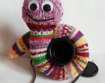 Knitted Snake, Knitted Worm, Camera Cover, Photographer Equipment, Photographer Accessory, Colorful Camera Cover, Lens Buddy