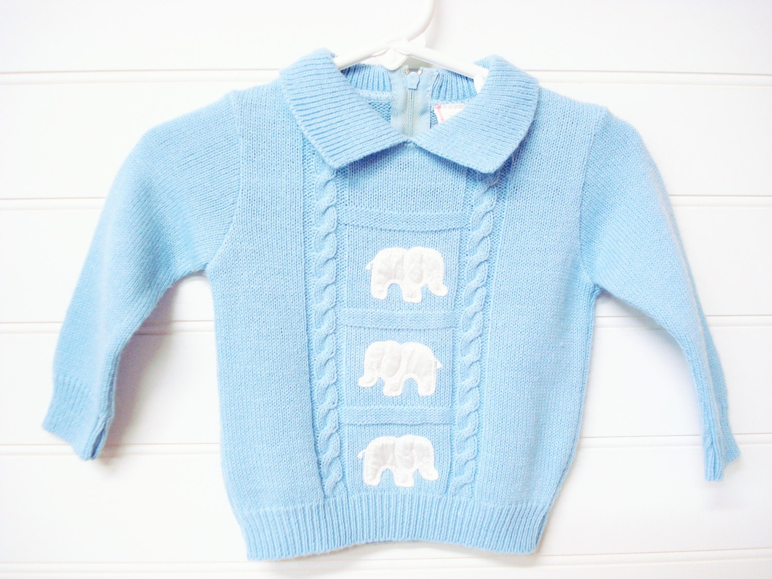 vintage baby clothes baby boy sweater light blue by