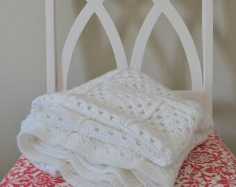 Vintage Soft White Crochet Blanket