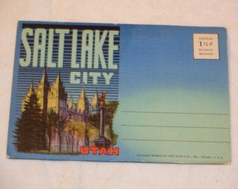 Vintage 1940's Travel Ephemera, Souvenir Postcard Folder from Salt Lake City, Utah. Includes 12 Views over 18 Panels.