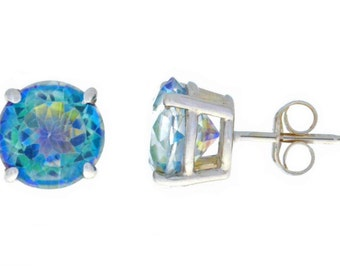 14Kt White Gold Blue Mystic Topaz Round Stud Earrings