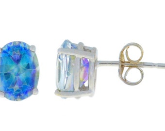 Natural Blue Mystic Topaz Oval Stud Earrings .925 Sterling Silver Rhodium Finish