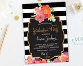 Graduation Party Invitation, Graduation Invitation, Black & White Stripe, Graduation Invite, Striped Invitation, Floral Invitation