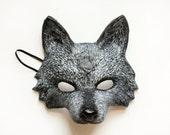 Dark Grey Wolf Animal Mask Handmade Carnival Masquerade Woodland Fancy Dress Papier Mache