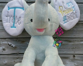 Personalized Stuffed Elephant - Baby Shower Gift - Boy Elephant Cubbie - Blue - I am Precious in His Sight