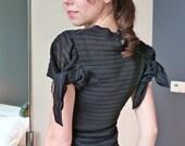 1980s NWT John Galliano Tie Sheer Black Blouse Top Vintage Flutter Sleeves 1940s Style Teardrop Back