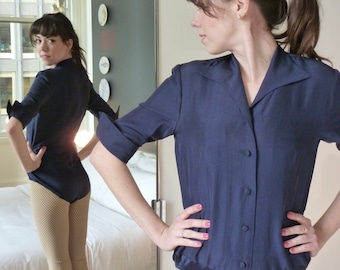 Navy Silk Body Suit Fitted Blouse 1990s Vintage NEW Sarah Phillips New York Henri Bendel  Super Cuffs Bodysuit