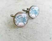 Crab cuff links - Nautical cufflinks-Groom cuff links -men gift -Gift for fisherman -cancer zodiac accessories - nautical wedding-Blue crab