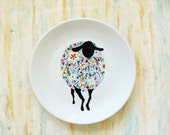 Hand painted porcelain plate -  Wildflower sheep