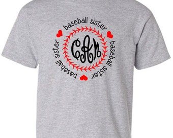 Youth Baseball Lil' Sis Monogram Shirt, Baseball Sister Shirt, Personalized T-Shirt, Monogram Youth Shirt