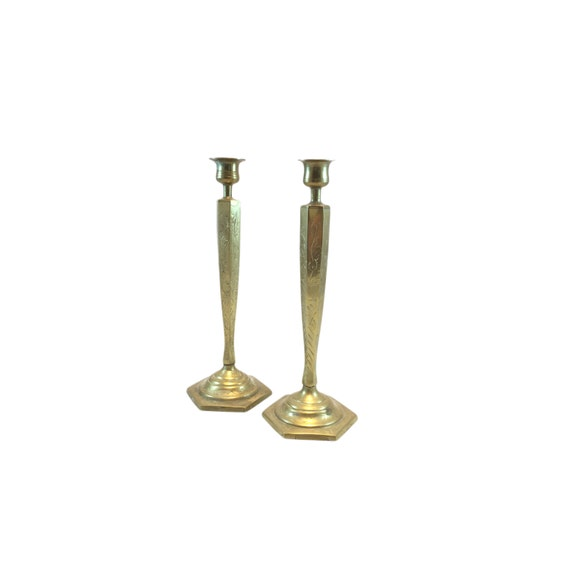 2 Tall Vintage Etched Brass Candlestick Candleholders Asian