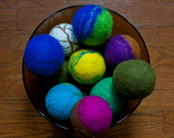 Wool Dryer Balls - Felted Dryer Balls - Felted Wood Dryer Balls - Reusable Dryer Balls - Upcycled Dryer Balls - Ecofriendly Wool Dryer Balls