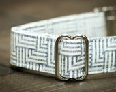 Dog Collar, Gray Neutral Geometric Pattern, Designer Pet Collar with Metal Buckle