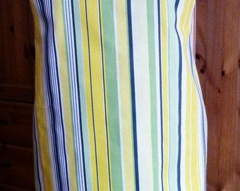 full length apron - green/yellow/white stripes