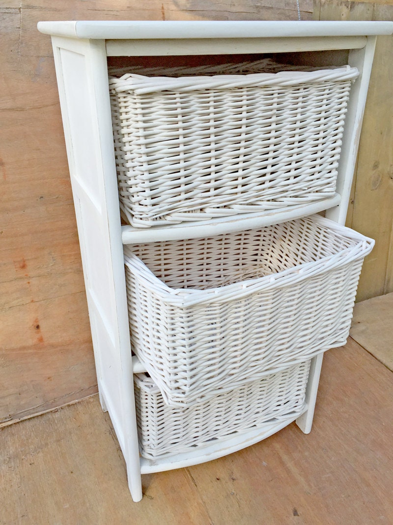 Woven Storage Baskets Melbourne : White wicker storage with baskets good for