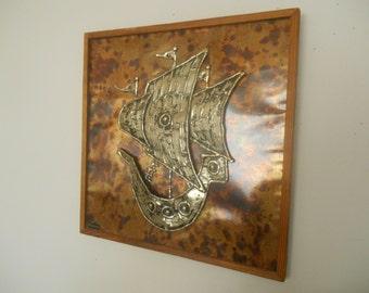 Sven Lindstrōm Viken Sweden Studio wall hanging Metal object of Art Ship wall plaque