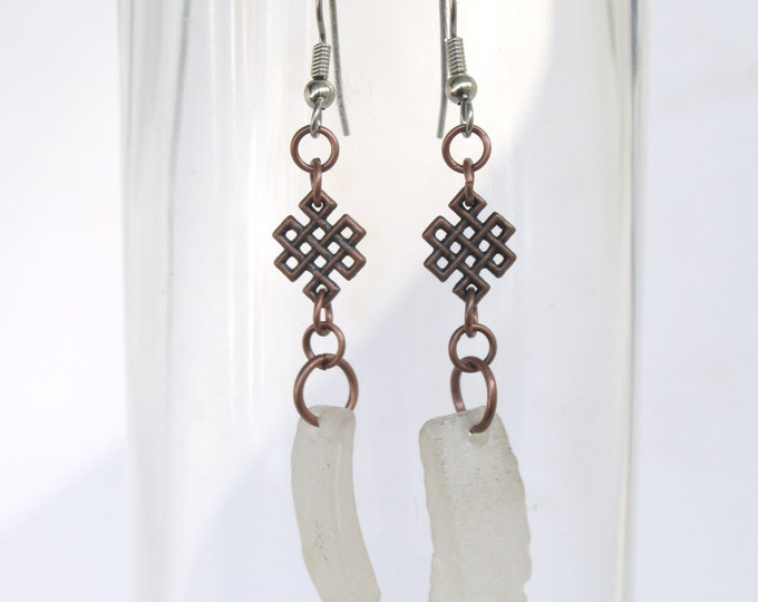 White Sea Glass with Antique Copper Auspicious Buddhist Infinity Endless Knot Earrings with Stainless Steel Ear or Sterling Silver Wires