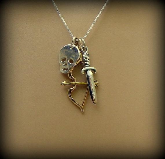 Zombie jewelry, Zombie necklace, dead walkers,  survivalist, skull, mixed metals