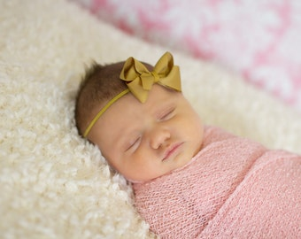 Baby Bow Headband.Newborn Headband.Baby Girl Headband.Headbands for Babies.Infant Headband.Baby Bows.Baby Headbands.Mini Bow Headband.Gold
