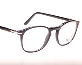 Persol classy retro squared black cello frames with the signature silver arrow hinges, 90s hand made in Italy NOS
