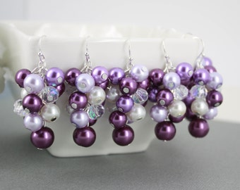 Shades of Purple Cluster Earrings, Purple Pearl Earrings, Purple Cluster Earrings, Bridesmaids Gift, Plum Earrings