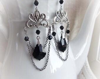 Dangle black Swarovski crystal earrings gothic victorian hanging earrings baroque renaissance earrings dangle black crystal earrings