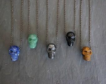 Gemstone Necklace // Skull Pendant  // Gemstone Pendant // Tigers Eye // Pyrite // Men's Necklace // Men's Jewelry // Skull Necklace