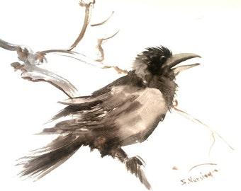 Crow painting,raven, original watercolor 15 X 11 in, crow on tree wall art, brown black white minimalist art
