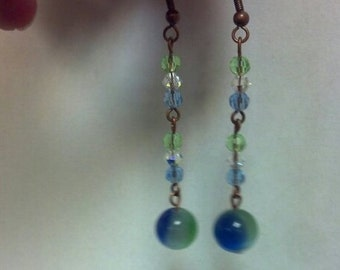 earrings, bead earrings, blue, green